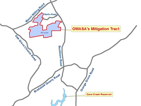Map of Cane Creek Mitigation Tract
